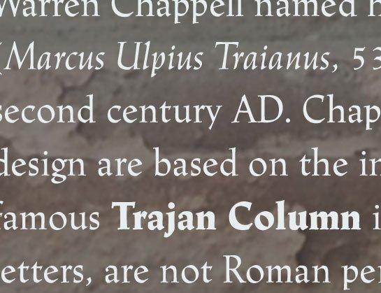 Muestra de la fuente Linotype Trajanus